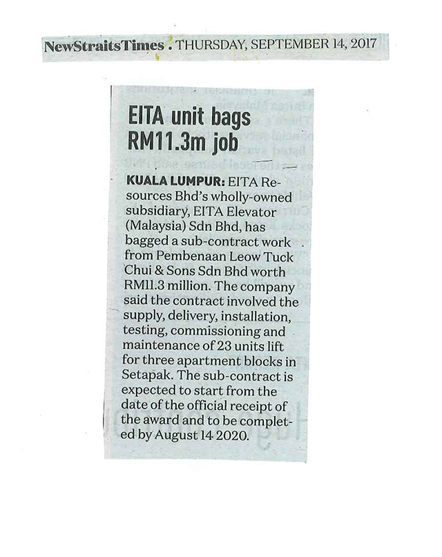 EITA unit bags RM 11.3 million job- NST dated 14.9.17