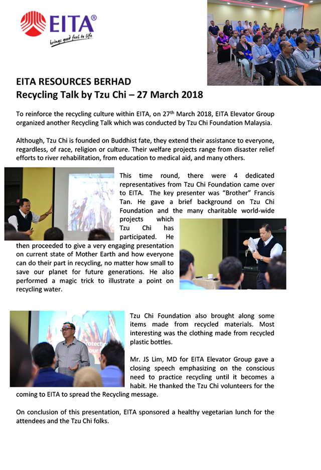 EITA - Tzu Chi Recycling Talk - 27-03-2018-1