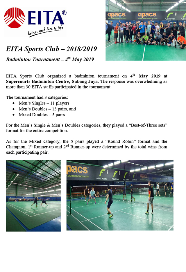 Badminton Tournament 2019 Write-up-1